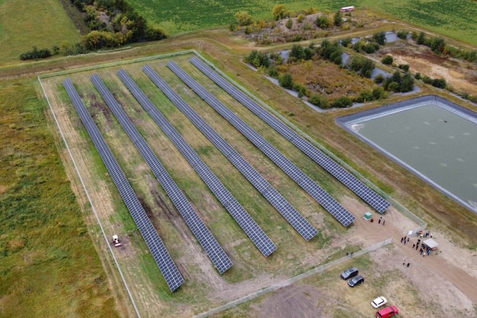 An aerial view of the new Bon Accord solar array. Each row of panels is about 144 m long and 4 metres high. Combined together, the panels would cover a little more than eight basketball courts. DANDELION RENEWABLES/Photo