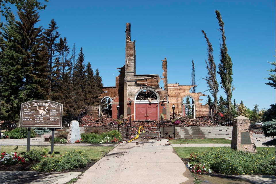 HEARTBREAKING — A view of the front of the St. Jean Baptiste Church in Morinville after it burned to the ground on June 30, 2021. The church had served as the metaphorical heart of the town for some 114 years. KEVIN MA/St. Albert Gazette