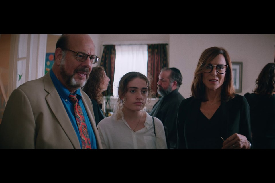 Fred Melamed, Rachel Sennott, and Polly Draper in Canadian filmmaker Emma Seligman's stellar debut Shiva Baby.