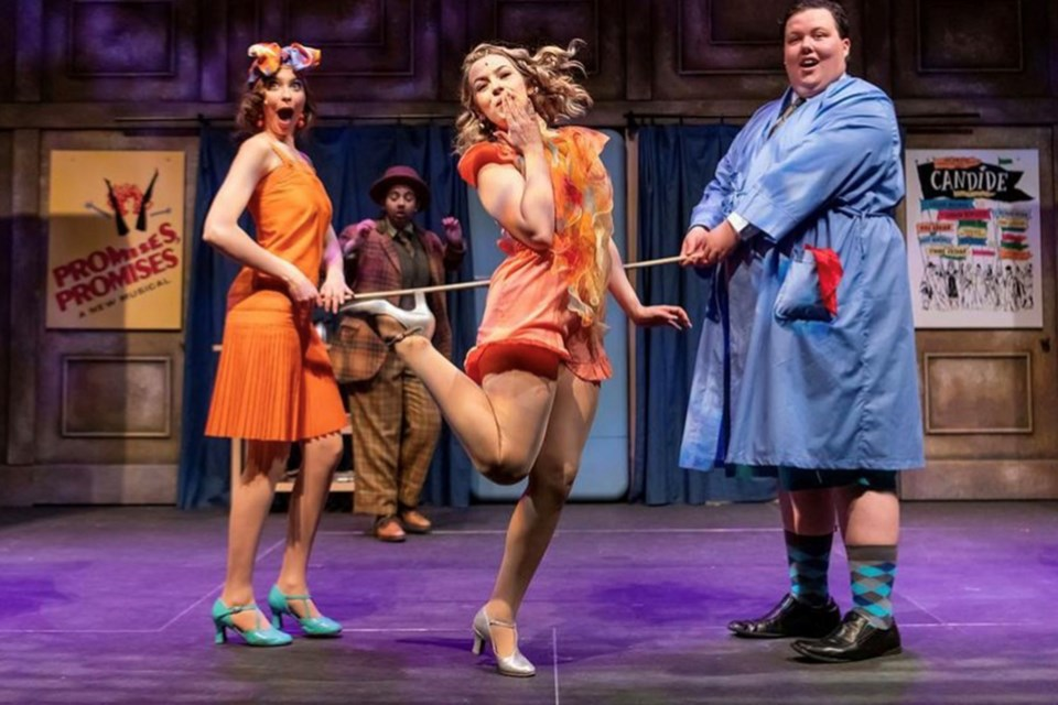 Daphne Charrois (centre) struts her stuff in The Drowsy Chaperone. The former Legal resident now lives in New York and is competing in Next on Stage: Season 3.
