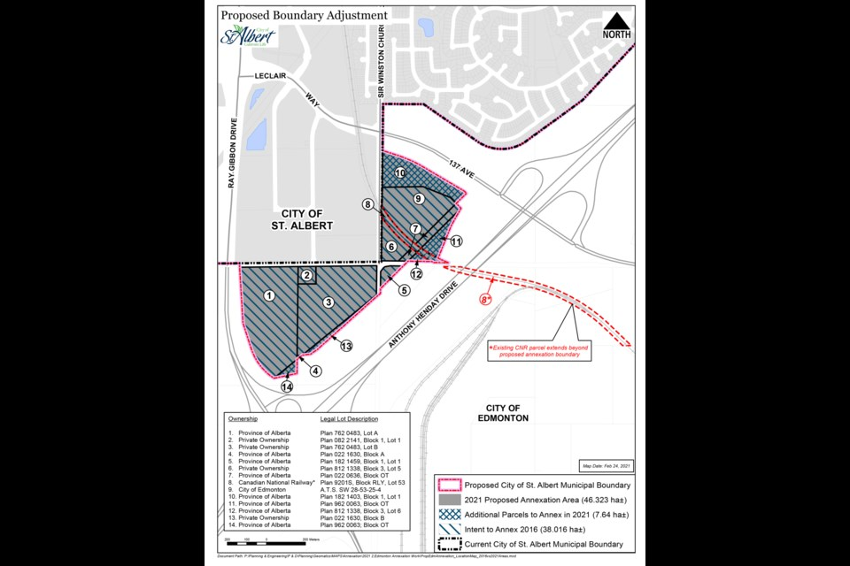 The parcels, leftover from the construction of Anthony Henday Drive, has potential to expand industrial or commercial space in St. Albert once brought within city boundaries.