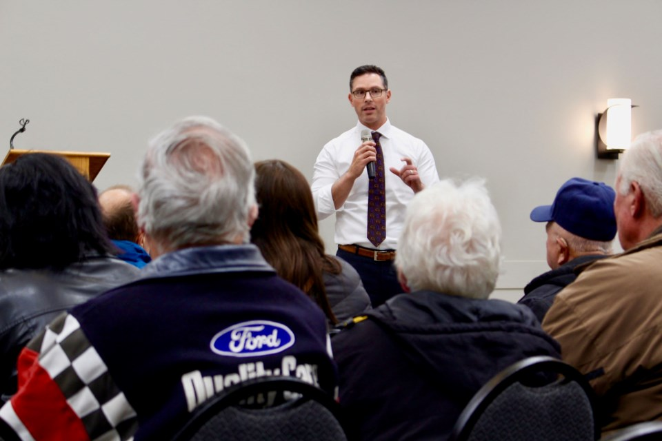 Alberta Justice Minister and Solicitor General Doug Schweitzer joined Calahoo-area residents at a meeting on rural crime Monday night. JENNIFER HENDERSON/St. Albert Gazette