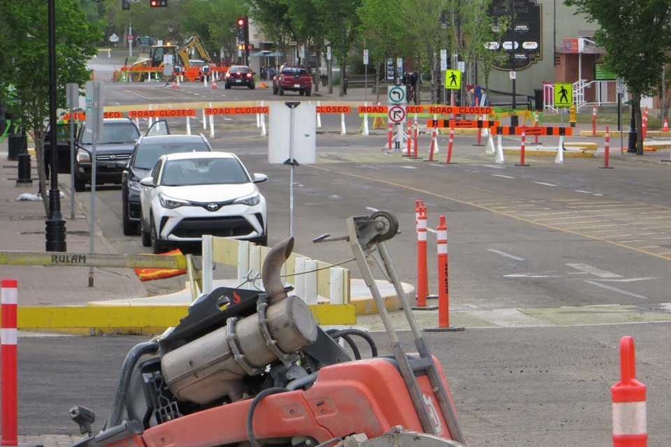 The City of St. Albert has installed a maze of barricades throughout the downtown area to complete a series of road improvment projects. ANNA BOROWIECKI/St. Albert Gazette