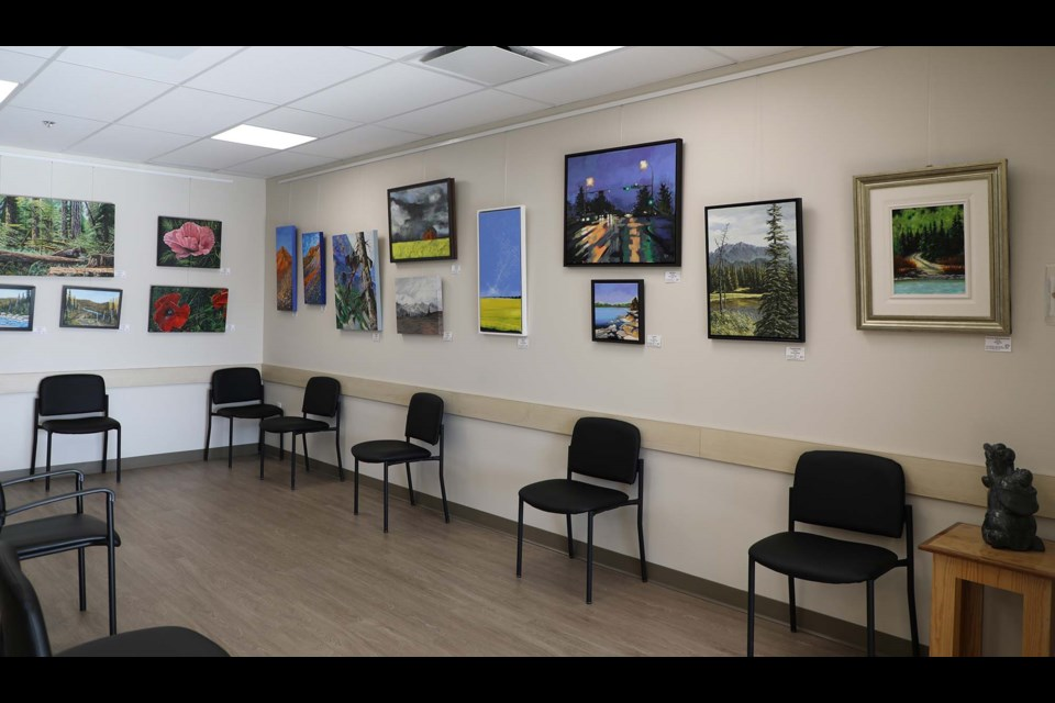 Art from members of the St. Albert Painters' Guild is featured on the walls of the waiting area at the Sturgeon Women's Health Clinic in St. Albert.