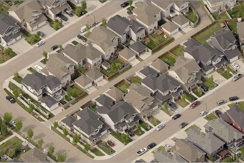 An aerial view of the front-back semi-detached homes built in the Starling neighbourhood in Edmonton. SUPPLIED