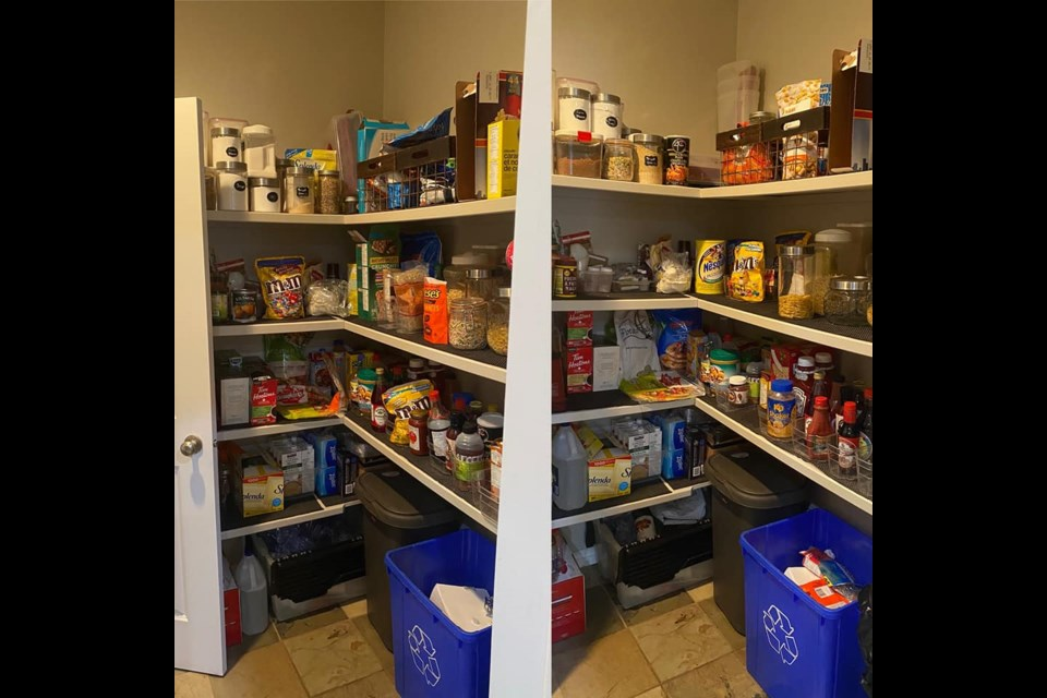 Stephanie Kress's before and after photo from her participation in Day 6 of Stephanie Cordova's 31-Day Declutter challenge. That challenge not only encouraged people to pare down their pantries but also offer the superfluous items to the food bank (as long as they were still good).