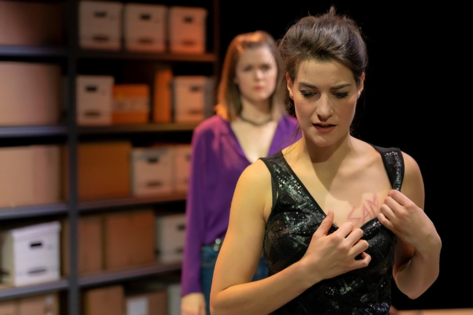 St. Albert actor Alex Dawkins (front) performs with Laura Raboud in Workshop West's world premiere of The Ballad of Peachtree Rose. Dawkins' performance earned her a nomination for a Sterling Award.