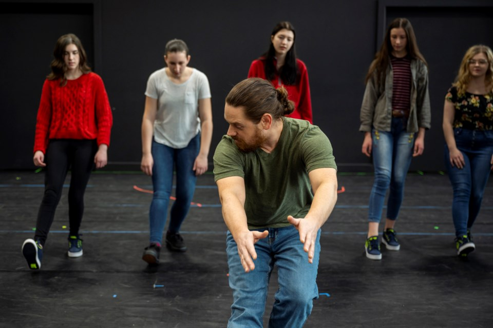 Actor Matt Boisvert (front) directs a group of teen artists in Act Up, a class designed to explore theatre and acting.   MARC J CHALIFOUX PHOTOGRAPHY/Photo
