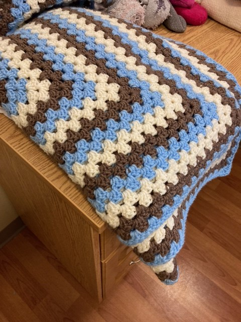 Laurie Hankinson hopes to find the owner of this blanket, return it, and offer a heartfelt thanks in person to whoever offered it during the dramatic moments of the evacuation of the residents of the Citadel Mews during the fire last week.