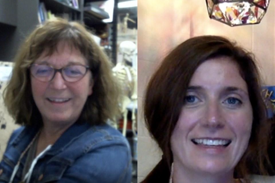 Paul Kane High School art teacher Colleen Hewitt, left, and St. Albert Catholic High School art teacher Teresa Wallsten.
