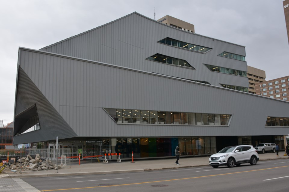 Strike a pose: the new Stanley A. Milner branch of the Edmonton Public Library makes its presence known with dramatic angles on the outside plus a ton of light and a bold vision for the future on the inside.