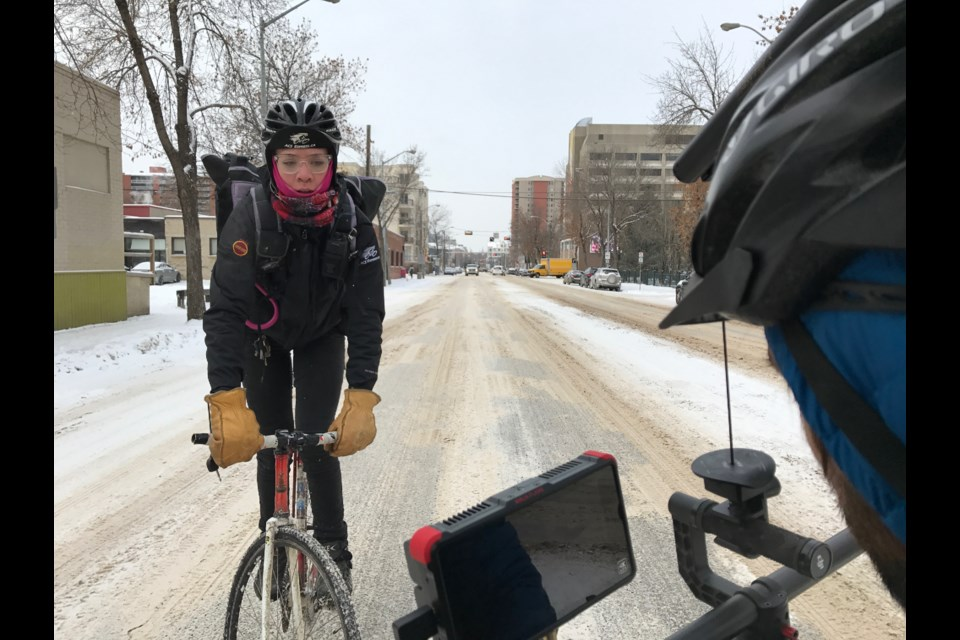 Kurt Spenrath and Frederick Kroetsch relied on some ingenious filming methods in order to best get Mariah Hoy in action during the production of Snow Warrior, a short doc that looks at bicycle couriers in Edmonton.