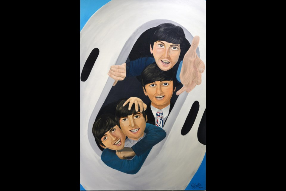 RJ Smith, Grade 12 student at St. Albert Catholic, created an acrylic piece inviting the viewer to dance with the Beatles inside an AirPod.