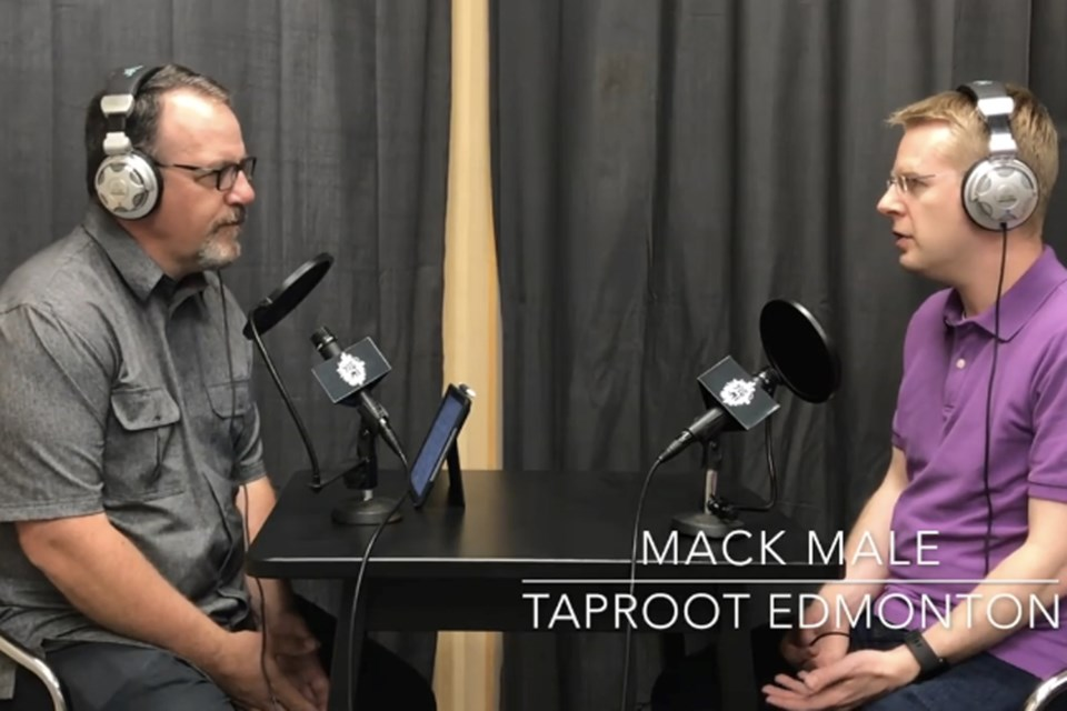 LeLacheur in discussion with Taproot Edmonton co-founder Mack Male during the YEG.me podcast that was released last August. ROAD55/Photo