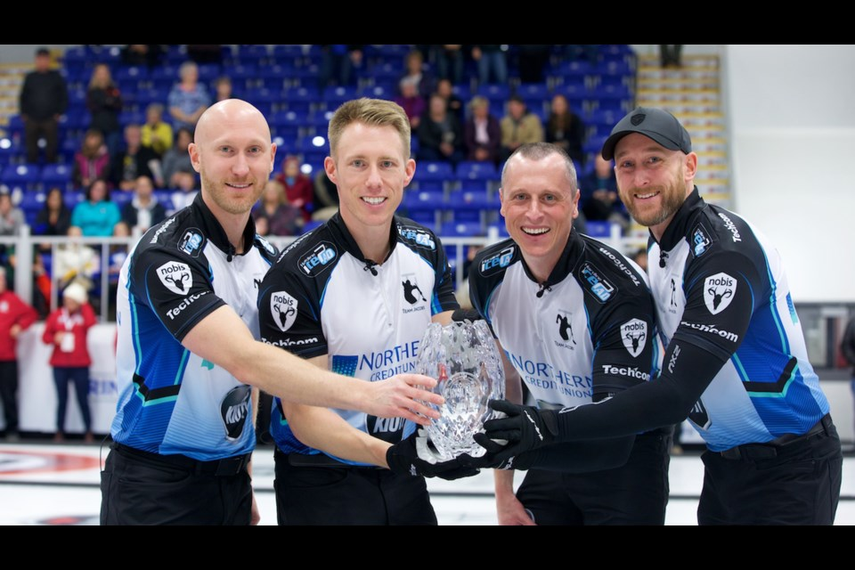 GRAND SLAM WINNERS – The Sault Ste. Marie, Ont., rink of, from left, skip Brad Jacobs, third Marc Kennedy of St. Albert, second E.J. Harnden and lead Ryan Harnden celebrate with the Tour Challenge trophy Nov. 10 in Pictou County, N.S. The Grand Slam victory was the first of the season and the second in four events on the 2019/20 tour schedule. Starting today at the Leduc Recreation Centre is the Home Hardware Canada Cup, a Season of Champions event on the Curling Canada circuit, and the first game for the defending champions is 2 p.m. against Team Howard. Team Jacobs is coming off a 5-1 record as a quarter-finalist at the Ashley Home Store Curling Classic, a World Curling Tour event at the Penticton Curling Club.