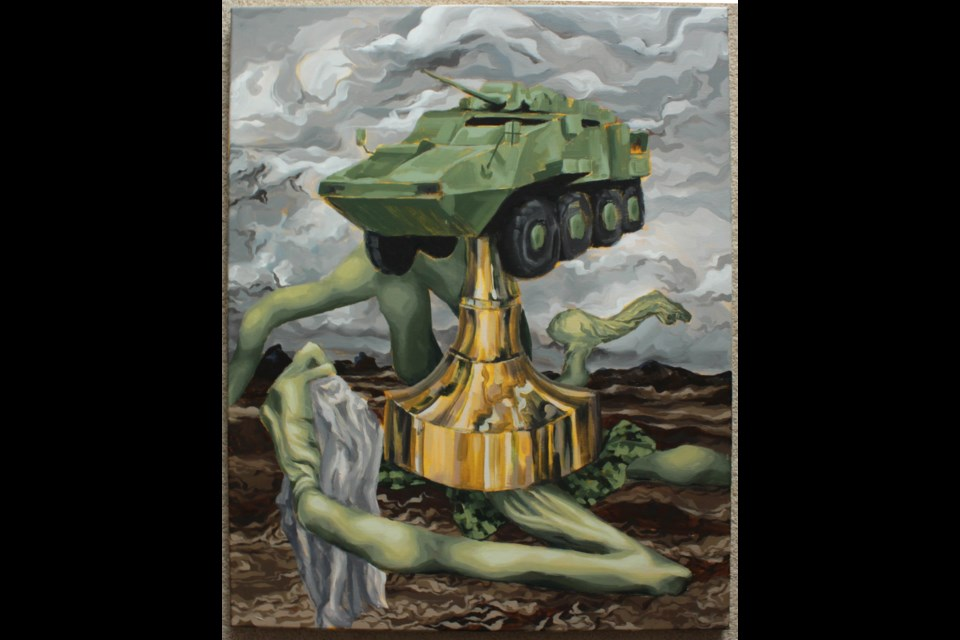 MacEwan arts grad Kirsten Sorensen offers Monumental Construction for the 2021 Grad Show, on virtual display until May 15. Monumental Construction by The piece is a comment on a planned military art installation of an LAV III vehicle in Morinville.