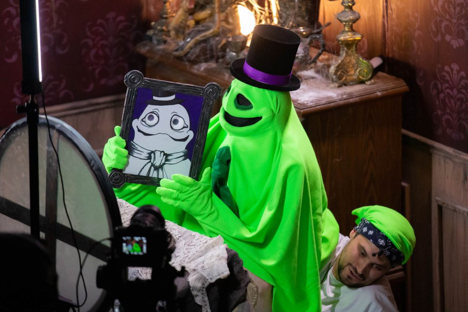 Jake Alabaster, the friendly puppet ghost hosting 13 Days of Frightful Fun, is a green screen that through th emagic of film appears as a shimmery figure during the online episodes. NANC PRICE/Photo