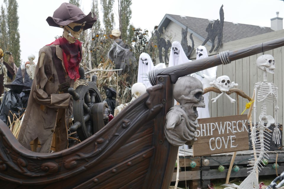 Adorned with a pirate shipwreck, spooky jack-o-lanterns, and various movie themes, the house at 7 Nicolet Court is packed with fun Halloween surprises. SYDNEY UPRIGHT/St. Albert Gazette