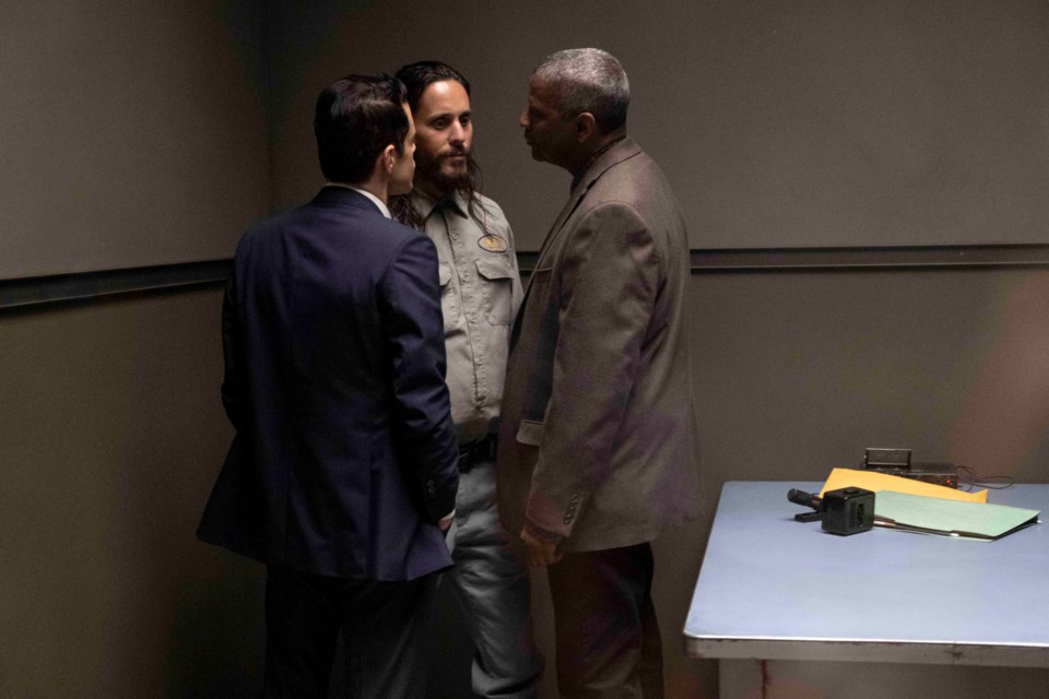 """Rami Malek (L) is Detective Jim Baxter who teams up with Denzel Washington's Joe """"Deke"""" Deacon (R) in investigating a series of murders in Los Angeles. Their convoluted path leads them to suspect  Albert Sparma (played by Jared Leto) in Warner Bros. Pictures' psychological thriller The Little Things, available on premium video on demand on Friday."""
