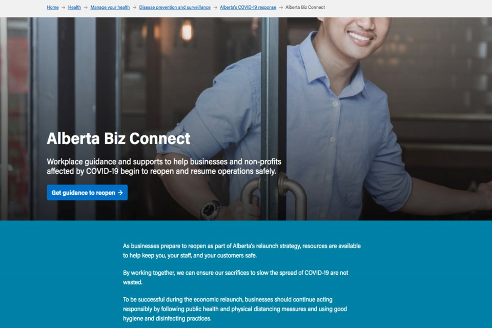 Alberta's new website, Alberta Biz Connect, offers guidelines on how businesses and organizations can reopen.