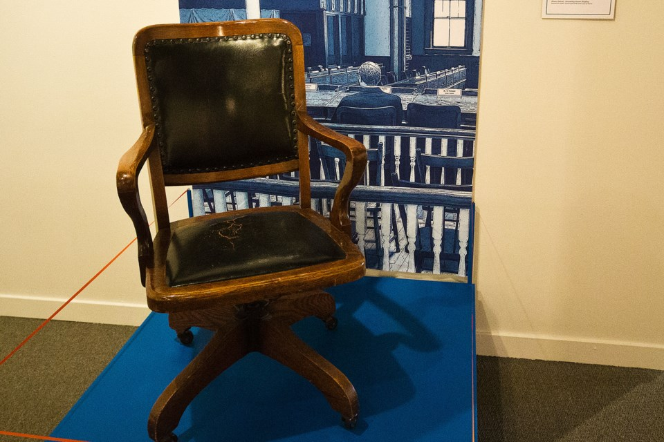 One of the original chairs from the days of Dominion when Alberta became part of Canada. This chair was donated years ago by former St. Albert MLA and St. Albert Gazette founder Ernie Jamison. CHRIS COLBOURNE/St. Albert Gazette