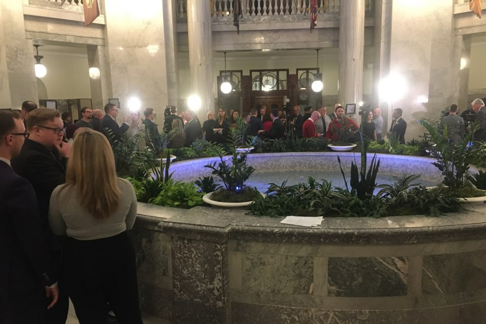 The view from the Alberta Legislature rotunda Thursday afternoon. The province released its 2020 budget. CLAIRE THEOBALD/Local Journalism Initiative