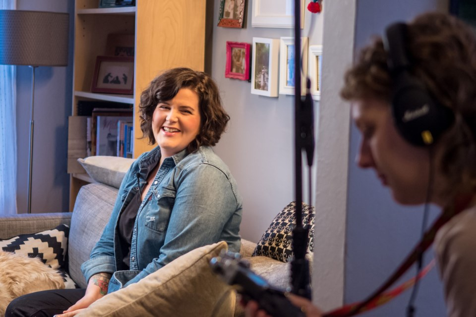 Blake Loates on the set of We All Believe In You, Andrea Beca's documentary about the former psych nurse's mental health initiative of the same name.