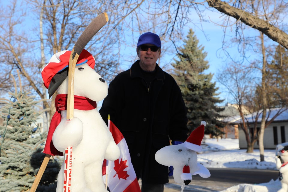 Dave Rudge has spent the past month building snow sculpture at his home in Willoughby Drive. Jan. 4, 2021. JESSICA NELSON/St. Albert Gazette