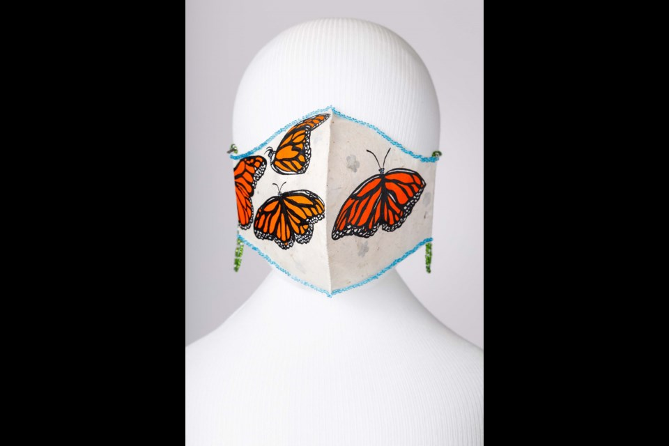 Cree artist Dianne Brown-Green's mask, The Journey, is a nod to the resilient Monarch butterfly.