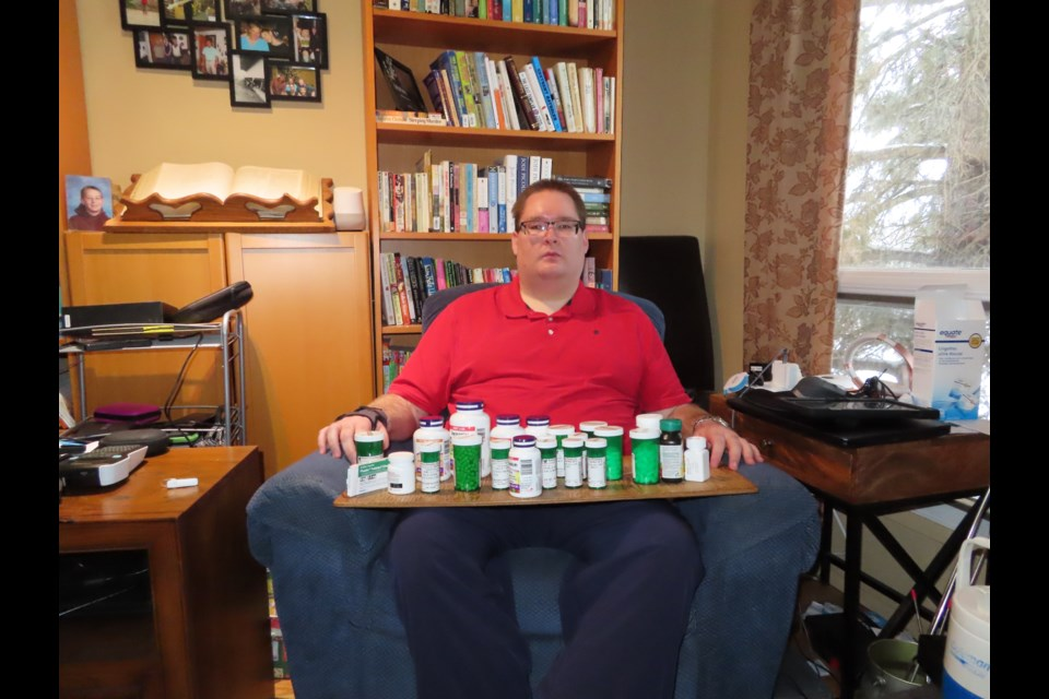Ernest Frederiksen takes 40 pills a day in an attempt to manage his many health conditions. He would like to be able to access MAID but does not qualify under current legislation. Photo supplied.