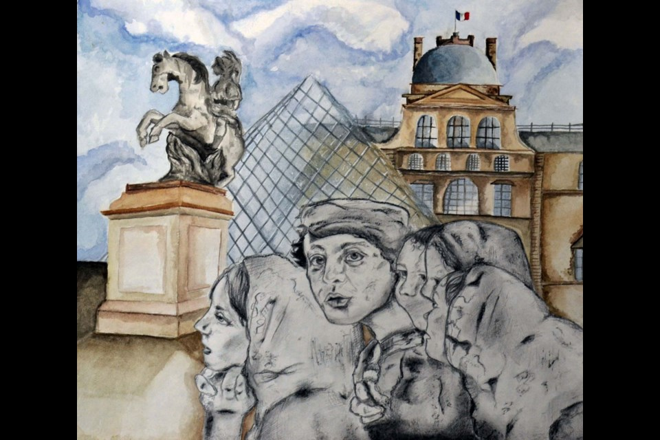 Lily Malthouse Grade 11 Title: Repin at The Louvre Artist Statement: Using graphite and charcoal, I recreated a classic piece originally depicted by the Russian painter Ilya Repin and brought it into a modern-day scene. The background, which was painted using watercolour, is of the Louvre Museum in Paris. I thought it would be interesting to bring a classical piece into a location where other classics are on display. This composition was louvrely to create! SUPPLIED/Photo