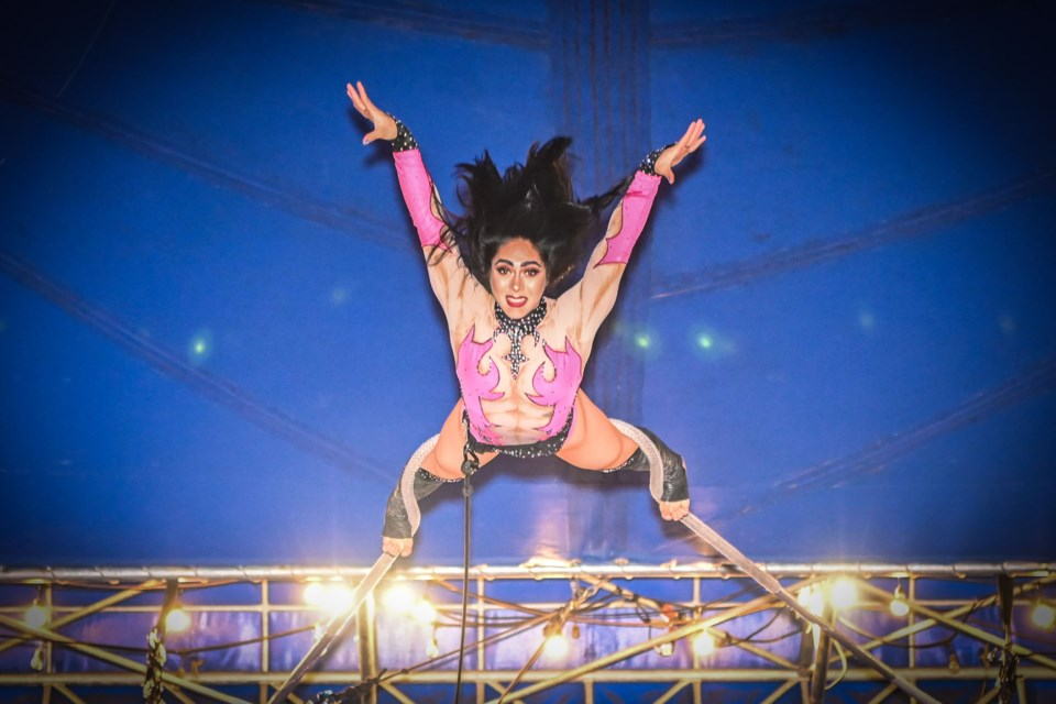 Argentinian aerialist Yesica is performing with Circo Osorio Aug. 1 to 5 in the Big Top set up at St. Albert Centre Mall.