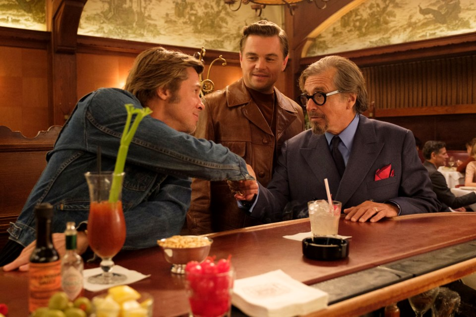 A typical Hollywood meeting between Rick Dalton (Leonardo DiCaprio), his stunt double Cliff Booth (Brad Pitt) and producer Marvin Schwarzs (Al Pacino) in Once Upon a Time in Hollywood.
