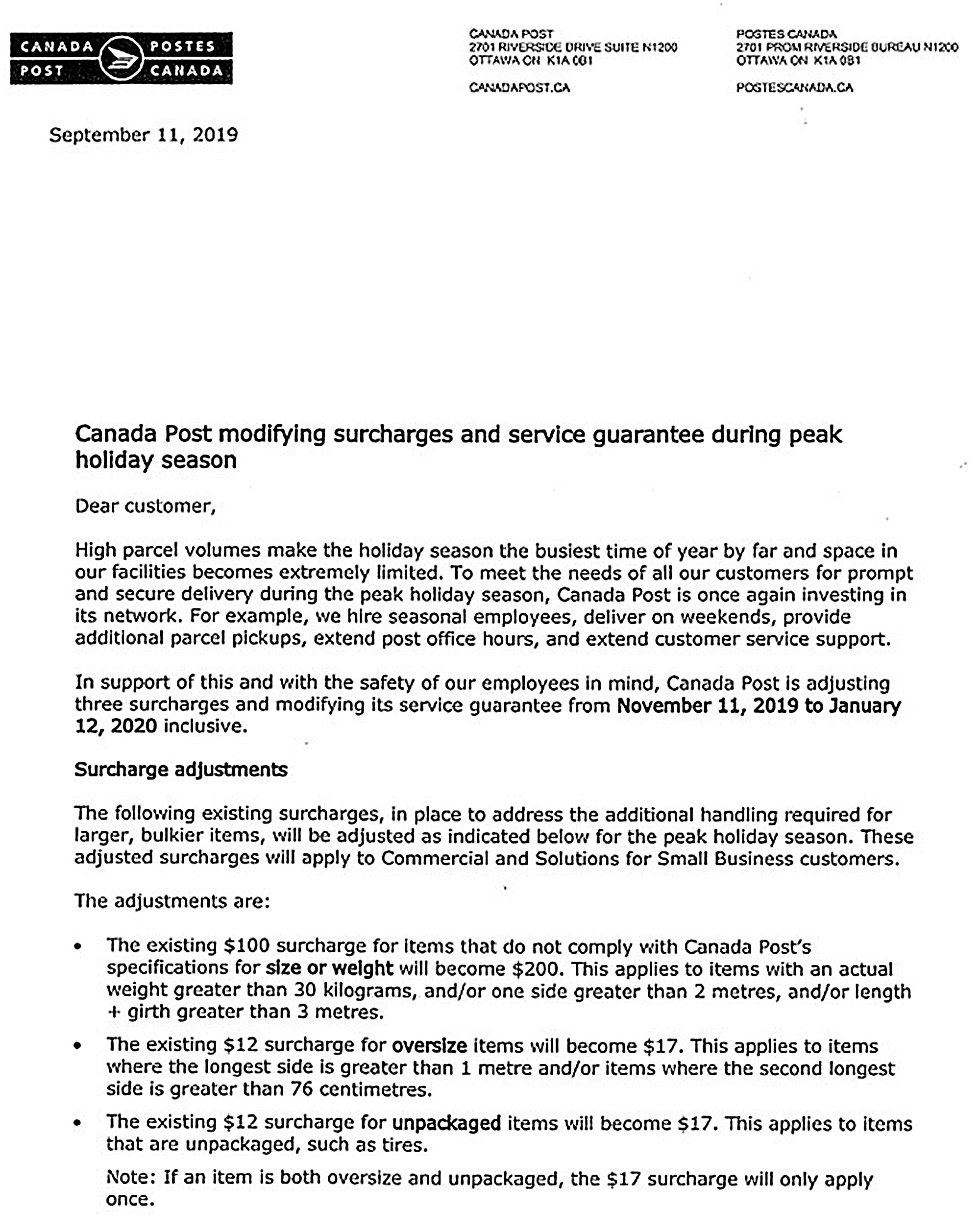 Canada Post letter surge new
