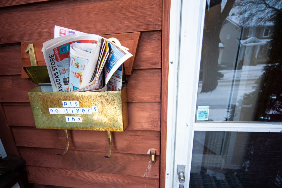 Some home owners opt to not receive flyers in their mailboxes. CHRIS COLBOURNE/St. Albert Gazette