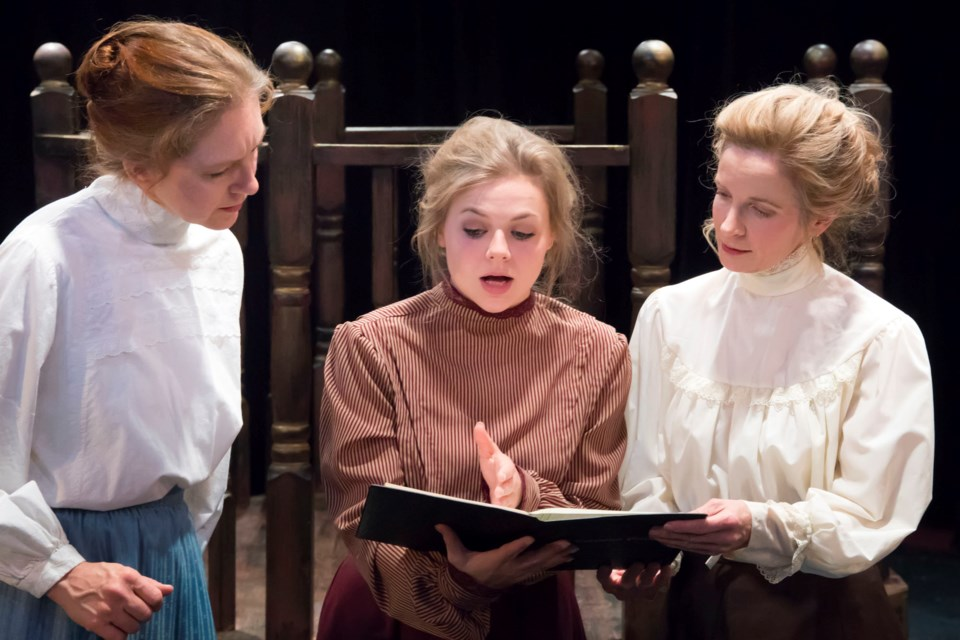 In the centre, astronomer Henrietta Leavitt (Lauren Hughes) explains to co-workers Williamina (Susan Ritchie) and Annie (Samantha Woolsey) that she's discovered certain patterns of luminosity among stars. However, Henrietta remains frustrated because she does not understand what the patterns mean in Silent Sky now running at Walterdale Theatre until Oct. 12.  SCOTT HENDERSON/Photo