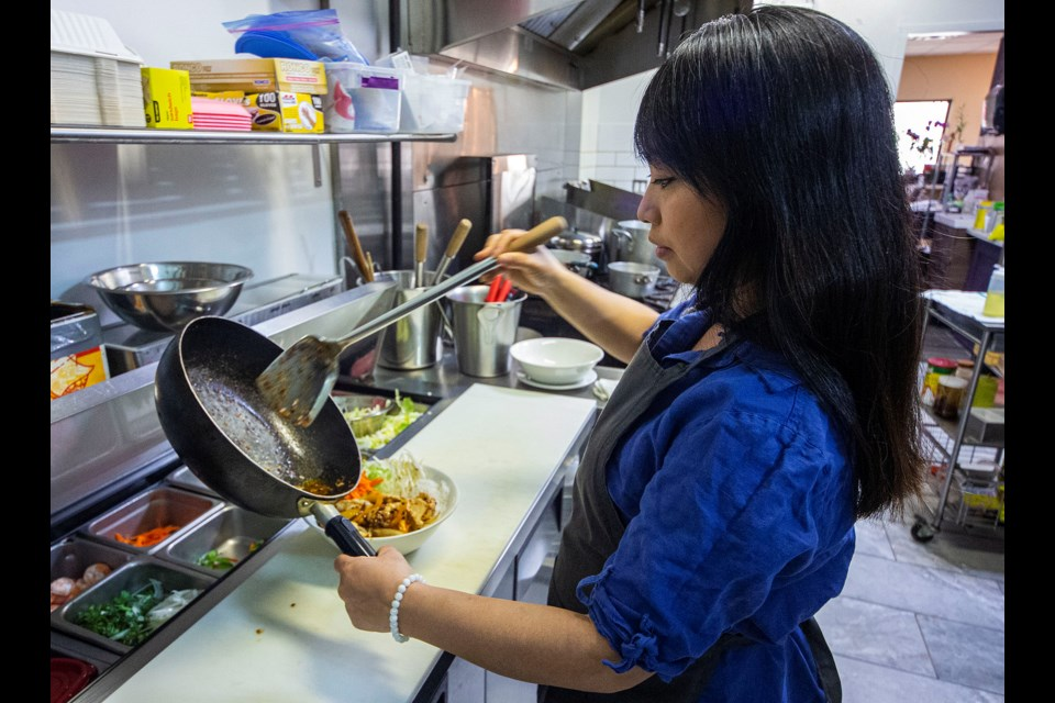 Chef and co-owner Cathy Truong at The Red Brick Wall — a Vietnamese Restaurant that opened up in March 2019. CHRIS COLBOURNE/St. Albert Gazette