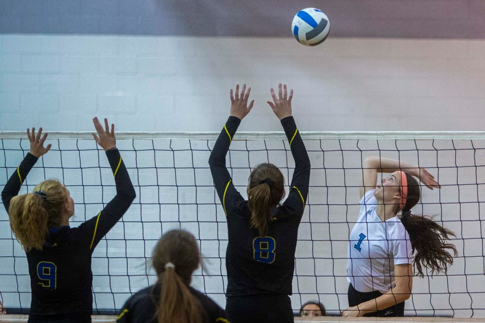 ATTACKER – Samantha L'Heureux of the Paul Kane Blues swings into action against the St. Albert Skyhawks in Monday's metro Edmonton division one senior women's match at Paul Kane. The Blues (1-6) lost 23-25, 21-25, 17-25. Today at 5:30 p.m. the Blues host the St. Francis Xavier Rams (3-4). CHRIS COLBOURNE/St. Albert Gazette