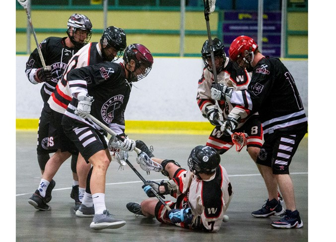 FLOORED – Paul Koch of the Edmonton Warriors is down and out with out the ball against the St. Albert Miners, with Randy Hanger on the right and John Lintz, front, and Graedon Cornfield on the left during Sunday's senior B match on Lacrosse Day in St. Albert. The Miners won 11-3 at Akinsdale Arena and Monday's 8-6 result against the Beaumont Outlaws at Go Auto Arena was the third win in four games for the Miners to start off the season as the three-time defending President's Cup national champions.  CHRIS COLBOURNE/St. Albert Gazette