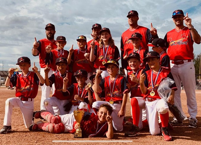 NUMBER ONE – St. Albert Cardinals Red is the Baseball Alberta 11U Tier 2A champion after going 4-1 at provincials last weekend in Drayton Valley. Sunday's final was 8-2 against South Jasper Place. The Cardinals also posted wins of 14-6 against Lacombe, 10-5 against Strathmore and 13-3 against South Jasper Place and the only loss was 15-8 to Drayton Valley.
