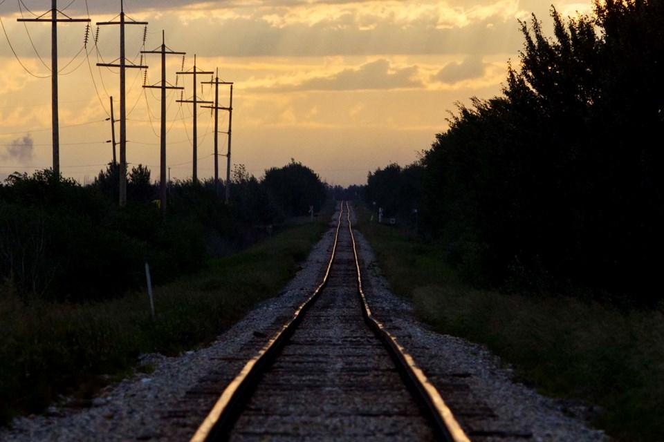 train tracks at sunset-CC-8530 CC