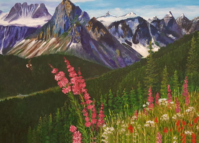 Painters' Guild member Berni Buyse shares her view of a springtime scene in the mountains for a month-long exhibit at the St. Albert Public Library. She is joined by fellow guild member Susan Casault who also has a series of works in the show.