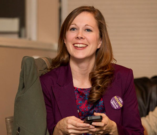 NEW MAYOR – Morinville's mayor-elect Lisa Holmes was all smiles after the poll results put her on top. A recount will take place Wednesday b