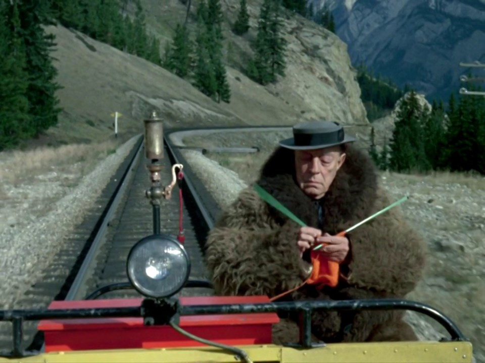 What could be better than a knitter in a bison hide coat on a railway speeder car in the middle of the Rockies? If only there was a spot of tea to be had…