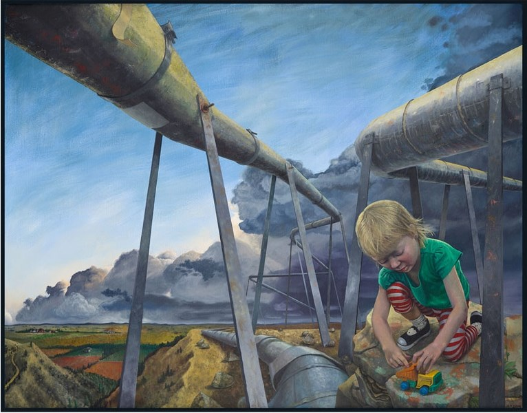 Jessica Plattner's Child at Play demonstrates a pristine world being overtaken by industry. The exhibit Overburden is on now at the Art Gallery of St. Albert.
