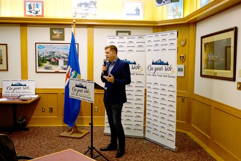 Brian Jean addresses a small crowd at the legion on Thursday to discuss conservative values and his vision for the province.