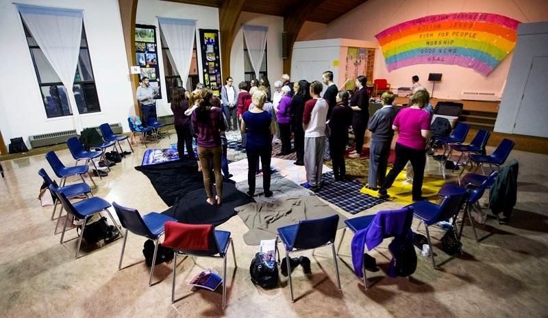A DIFFERENT PERSPECTIVE – Participants take part in a blanket exercise
