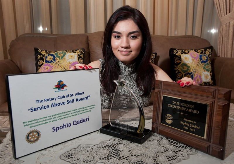 COMMUNITY ACTIVIST – Sophia Qaderi with a few of her many awards and recognitions at her home in St. Albert. The decorated community volunteer was picked for the Top 30 Under