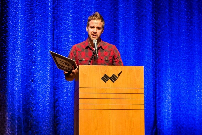 St. Albert singer-songwriter Dan Davidson enjoys a moment in the spotlight at the 2017 Edmonton Music Awards during his acceptance speech for winning Country Recording of the
