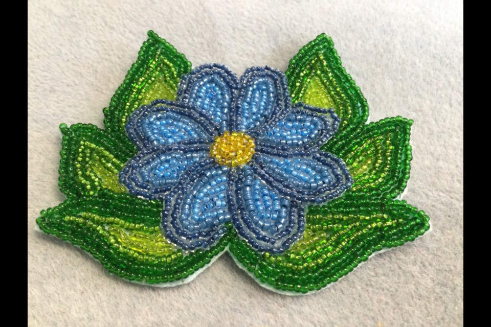 These are examples of beadwork created by participants in Liz Eshkibok beading workshops. Indigenous beadwork is more than just making a craft. It is a spiritual act of creation that pays homage to creation itself.